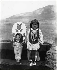 Nez Perce infant and young boy, Colville Indian Reservation, Washington, circa 1903. Photographer: Edward H. Latham.