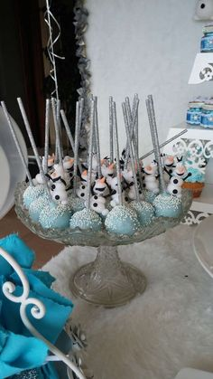 Olaf cake pops at a Frozen birthday party! See more party planning ideas at CatchMyParty.com!