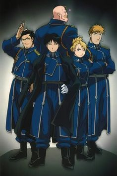 Fullmetal alchemist fma soldiers- Hawkeye, Mustang, Armstrong, Hughes, and Havoc