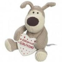 """£8.99 - Boofle Small Plush Gorgeous Girlfriend  Boofle 6"""" Small Plush Toy. Boofle is a snugglesome pup that is loveable and cuddly and a best friend for everyone. Sitting down holding a wooden heart shaped plaque that says """"Gorgeous Girlfriend""""."""
