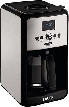 KRUPS EC314 Programmable Digital Coffee Maker, 12-Cup, Silver Krups Coffee Maker, Best Coffee Maker, Stainless Steel Coffee Maker, Brushed Stainless Steel, Cold Coffee Brewer, Coffee Cups, Amazon Coffee, Silver, Digital
