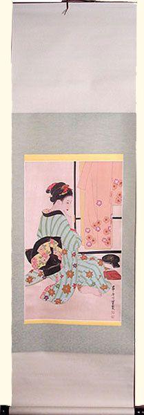"Oriental Furnishings - 64"" H Oriental Silk Scroll: Hand Painted Geisha Sitting, with Green Komono, $57.00 (http://www.orientalfurnishings.com/64-h-oriental-silk-scroll-hand-painted-geisha-sitting-with-green-komono/)"
