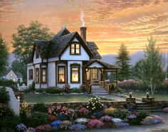 Paradise cottage - Other Wallpaper ID 1373746 - Desktop Nexus Abstract House Painting, Diy Painting, Richard Burns, Thomas Kinkade, Step By Step Painting, 5d Diamond Painting, Bob Ross, Cross Paintings, Country Art