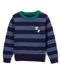 Another great find on #zulily! Navy Crest Stripe Crewneck Sweater - Infant, Toddler & Boys #zulilyfinds