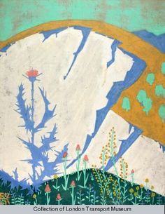 Flowers of the hills, by Edward McKnight Kauffer, 1920 - for underground poster