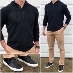 Black and Tan ⚫️🍺 Comfortable weekend vibes in this awesome black henley hoodie and tan chinos❗️👌🏼💪🏼🔥 Do you like this outfit❓ Shirt: Waffle Knit Henley Hoodie in Black Chinos: Bowie Fit Stretch Chino in Tan Sneakers: Royale Nero Chinos Men Outfit, Black Sneakers Outfit, Tan Chinos, Tan Sneakers, Black Chinos, Black Shirt Outfit Men, Formal Men Outfit, Casual Outfits, Stylish Men