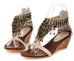 2012 summer Bohemia style metal womens wedge sandals