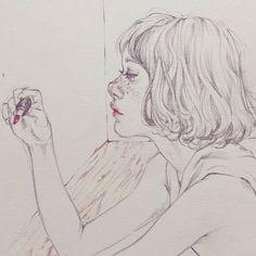 빨간 립스틱 #drawingbijou #colors #colorpencil #painting #sketch #illust #drawing #draw #red #lip #lipstick #illustration #girl #sweet #doodle #wip #립스틱 #일러스트 #소녀 #그림 #손그림 #드로잉 #연필그림 #일상 #감성 #스케치