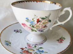 1880s German Pedestal Tea Cup Saucer Gold Trim