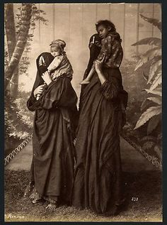 Two Veiled Women Carrying Their Children Egypt Vintage Albumen Print 1880 S | eBay