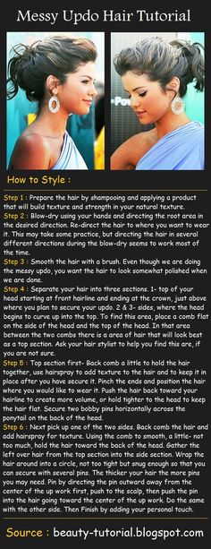 Messy Updo Hairstyle Tutorial. This Blog has hundreds of hair, make up and nail tutorials. You will be glad you found this blog!