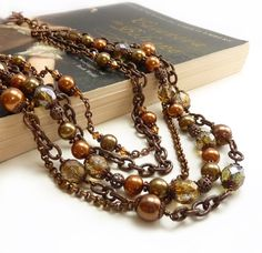 Bib Necklace, Mixed Metal Multistrand, Copper, Green Brown Glass