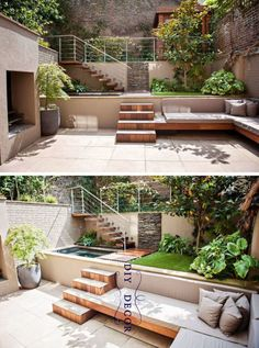 13 Multi-Level Backyards To Get You Inspired For A Summer Backyard Makeover // This yard may be small but the multiple levels make it feel larger. im garten naturstein 13 Multi-Level Yards To Get You Inspired For Backyard Makeover! Small Backyard Landscaping, Backyard Patio, Landscaping Ideas, Modern Backyard, Terraced Backyard, Small Patio, Sloped Backyard, Garden Landscaping, Desert Backyard