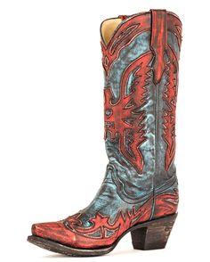 Corral Women's Charcoal Turquoise-Red Wing Tip Boot - R2395