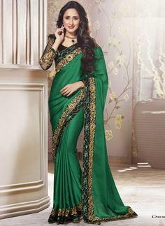 Enticing Green Silk Georgette With Patch Border Work Saree http://www.angelnx.com/Sarees/Designer-Sarees