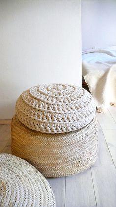 pouf tricot et osier