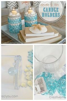 Bring the beach and coastal decor into your home with these gorgeous candle holders made with items from the Dollar Store.  http://www.hometalk.com/l/FsZ