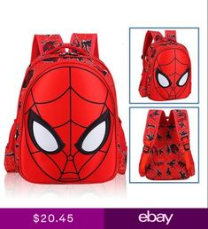 287a90da37 3D Spiderman School Bag Backpack Boys Kids Children Three Size Gift Bookbag  Hot Boys Backpacks