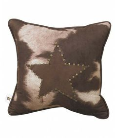 Cowhide Pillow with Studded Star