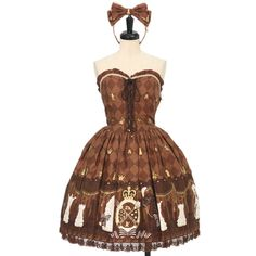 Angelic Pretty ☆ ·. . · ° ☆ Chess Chocolate bustier-style jumper skirt + headband https://www.wunderwelt.jp/en/products/%EF%BD%97-15119  IOS application ☆ Alice Holic ☆ release Japanese: https://aliceholic.com/ English: http://en.aliceholic.com/