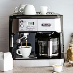 Shop De'Longhi Combination Pump Espresso and Drip Coffee Machine with Advanced Cappuccino System and more from Sur La Table! Coffee And Espresso Maker, Best Coffee Maker, Coffee Brewer, Coffee Pods, Coffee Beans, Drip Coffee Maker, Filter Coffee Machine, Cappuccino Machine, Espresso Machine