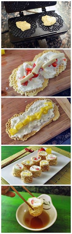 breakfast sushi 1 Cup Bisquick 2 Eggs 1/4 Cup sugar 8 Ounces whipped cream cheese Strawberries, banana, pineapple (and/or any other fruit of your choice) Maple syrup