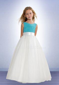 Gorgeous Scoop Chiffon Sleeveless Natural Waist Blue Flower Girl Dress