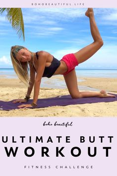"""Back by popular demand this is your ultimate """"butt lift, glute building, leg toning – whatever you prefer to call it"""" challenge! If you stick to this challenge you will. Pilates Workout Routine, Pilates Training, Workout Videos, Pilates Moves, Pop Pilates, Pilates Video, Home Exercise Program, Home Exercise Routines, Workout Programs"""
