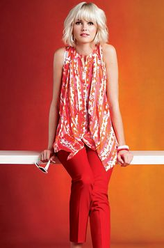 ETCETERA | Collections | Spring 2013 - Painted Silk Cascading Blouse with Poppy Red Slim Leg Ankle pant