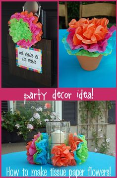 to Make Mexican Tissue Paper Flowers How to Make Tissue Paper Flowers - Great for a Summer Deck Party:)How to Make Tissue Paper Flowers - Great for a Summer Deck Party:) Mexican Fiesta Party, Fiesta Theme Party, Festa Party, Luau Party, Party Themes, Party Ideas, Theme Ideas, Gift Ideas, Party Hawaii