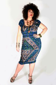 Plus Size Designer Clothing Women IYE ELASTICATED DRESS by