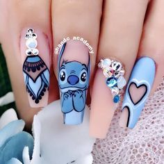 Disney Acrylic Nails, Clear Acrylic Nails, Summer Acrylic Nails, Spring Nails, Summer Nails, Autumn Nails, Acrylic Nails Stiletto, Alien Nails, Lilo Et Stitch