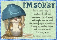 A cute way to say sorry when your mouth gets you in trouble. Free online I'm Sorry For My Mouth ecards on Everyday Cards Very Sorry, Really Sorry, Morning Hugs, Morning Wish, Casual Maternity, Maternity Fashion, I Think Of You, Told You So, Ways To Say Sorry