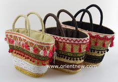 wheat straw tote bag with lace trimmings,drawsting cotton lining,made by OrientNew Qingdao