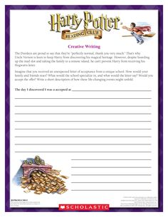 September CREATIVE WRITING EXERCISE: Imagine you have received an unexpected letter of acceptance to a new school!    Download by clicking image above!  For more activities visit www.scholastic.com/hpread #HarryPotter #HPread