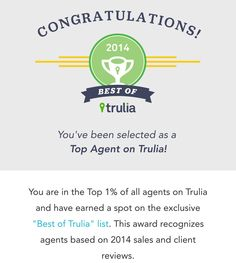 Trulia has named Paradise Sharks Real Estate in the top 1% of all agents in the United States based on 2014 sales and client reviews. If you are buying or selling real estate throughout Palm Beach or Martin County please feel free to contact us at 561.308.0175 or tom@paradisesharks.com for BIG customer service, BIG marketing and BIG value. It's what we do!