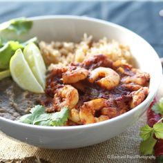 Shrimp Diablo with Mexican Rice and Homemade Refried Beans