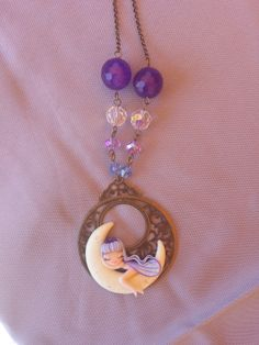 fairy on the moon necklace polymer clay fimo by Artmary2 on Etsy, €15.00