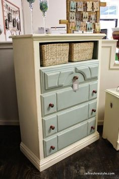 Best DIY Projects: Dresser with baskets as top drawers. Great for organizing and adding interest to a piece. (or replacing broken or missing drawers!)