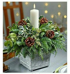 20 Magical Christmas Centerpieces That Will Make You Feel Th.- 20 Magical Christmas Centerpieces That Will Make You Feel The Joy Of The Holidays Galvanized Container Candle Centerpiece - Magical Christmas, Noel Christmas, Rustic Christmas, Christmas Projects, Christmas Wreaths, Simple Christmas, Advent Wreaths, Beautiful Christmas, Christmas Planters