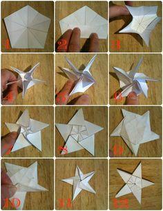 origami Noël facile: comment faire une étoile origami par étapes