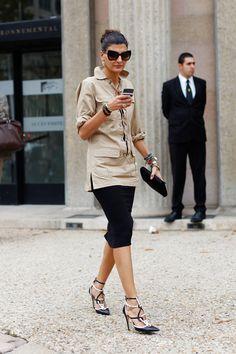 Giovanna Battaglia. Vintage YSL tunic. Pencil skirt. Black & White strappy pumps.