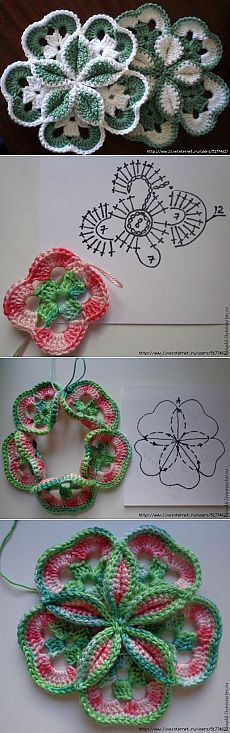 Crochet Flower – Step By Step Tutorials Crochet Flower Tutorial, Crochet Flower Patterns, Crochet Art, Doily Patterns, Crochet Home, Love Crochet, Irish Crochet, Crochet Motif, Crochet Crafts