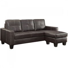 Coaster Acosta Leather Upholstered Sectional with Chaise in Dark Brown
