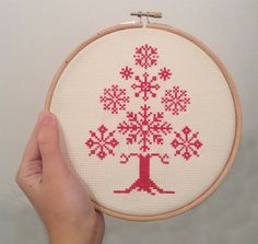 Christmas Tree Cross Stitch Patterns | Cross Stitch Pattern Christmas Tree with Snowflakes Instant Download