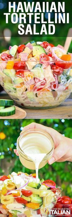 Hawaiian Tortellini Salad is a like a party in your mouth! It& a blend of your favorite island flavors in a fabulously bright, sweet and tangy summer pasta salad. A simple recipe with an outstanding pineapple-ginger dressing, this will be a hit ever Pasta Salad With Tortellini, Summer Pasta Salad, Summer Salads, Salad Bar, Soup And Salad, Fruit Salad, Summer Recipes, Great Recipes, Recipes Dinner