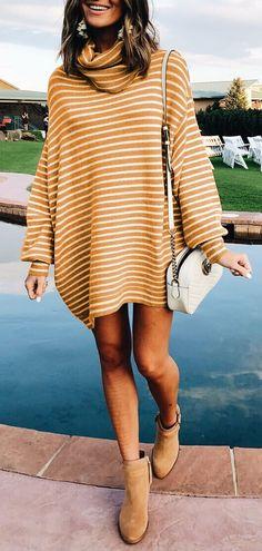 $43.99! Chicnico Casual Striped Turtleneck Loose Sweater