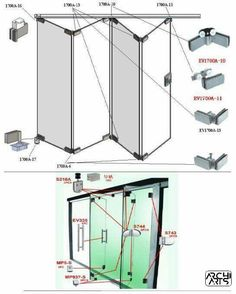 Stainless steel Glass folding door fitting or glass door accessories Más