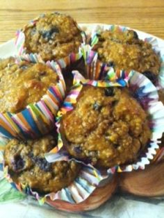 Ripped Recipes - Pumpkin Banana Blueberry Protein Muffins - A blend of pumpkin, banana and blueberry makes these muffins slightly sweet but completely delicious. No white flour, butter, or sugar in this recipe! Protein powder makes these great for a pre- or post-workout snack, and these are great to grab on the go for a quick bite!