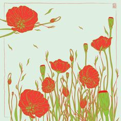 Poppy fields forever! Lovely IRIDA Mac scarf perfectly depicts our favorite red flower.